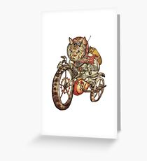 Berserker Steampunk Motorrad Katze Grußkarte