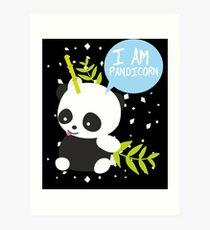 I Am Pandicorn Panda With Bamboo Horn Unicorn Gift Kunstdruck