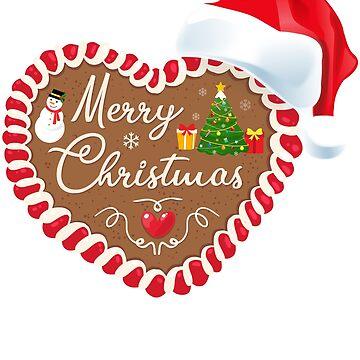 Merry Christmas Gingerbread Heart Santa Hat  by peter2art