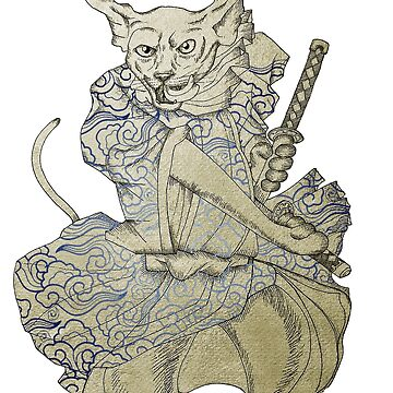 Samurai Cat in Blue Cloud Pattern Japanese Traditional Clothes by felissimha