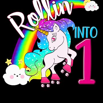 Unicorn 1st Birthday Shirt for Kids - Magical Skater Rollin into 1 by proeinstein