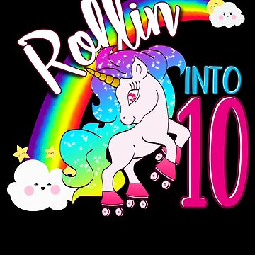 Unicorn 10th Birthday Shirt for Kids - Magical Skater Rollin into 10 by proeinstein