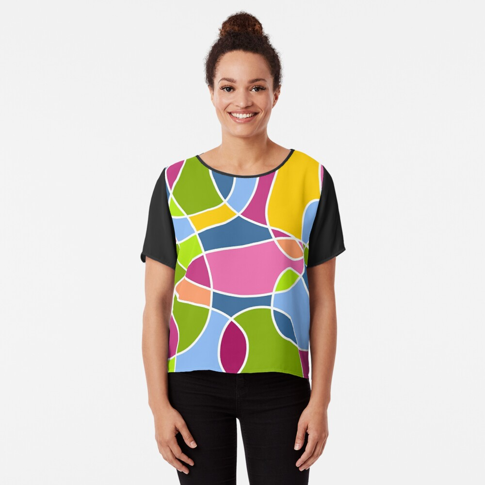 Ultra cool bold and bright scribble pattern Chiffon Top