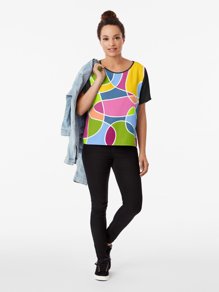 Alternate view of Ultra cool bold and bright scribble pattern Chiffon Top