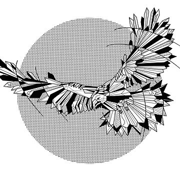 Black and white geometric Hawk by piedaydesigns