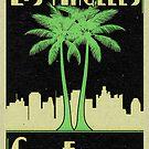 Los Angeles California Vintage Art Deco Palm Trees by MyHandmadeSigns