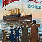Vintage Norddeutscher Lloyd ship departing Bremen by edsimoneit