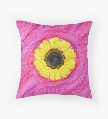 Sunflower on pink #DeepDream Throw Pillow