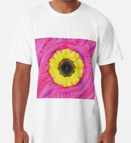 Sunflower on pink #DeepDream Long T-Shirt