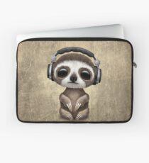 Nettes Baby Sloth Deejay tragende Kopfhörer Laptoptasche