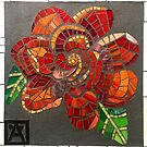 Mosaic Red Flower by Anne Marie  Price