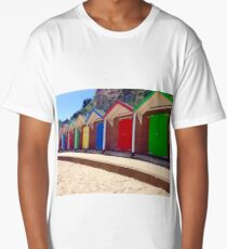 Colorful Beach Sheds Long T-Shirt