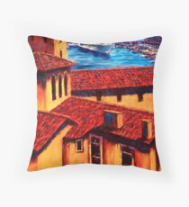 The Red Roofs of Monaco Throw Pillow
