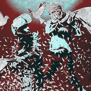 Banksy Inspired Israeli Palestinian Pillow Fight by Loredan