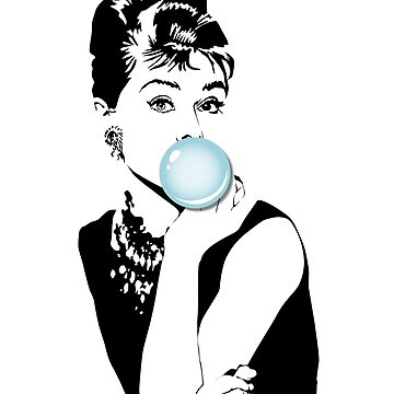 Audrey Hepburn with Bubble Gum Gift Idea by LuckyU-Design