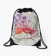Bee on Concrete, Watercolor Painting Drawstring Bag