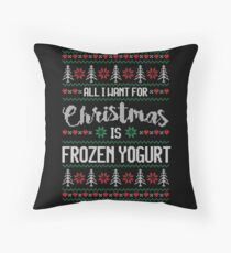 All I Want For Christmas Is Frozen Yogurt Ugly Christmas Sweater Floor Pillow