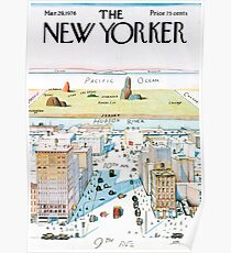 New Yorker View of the World From Ninth Avenue Poster Poster