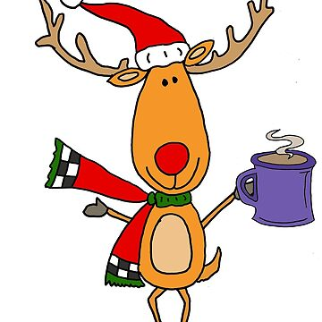 Funny Rudolph Red Nosed Reindeer Drinking Coffee Christmas by naturesfancy