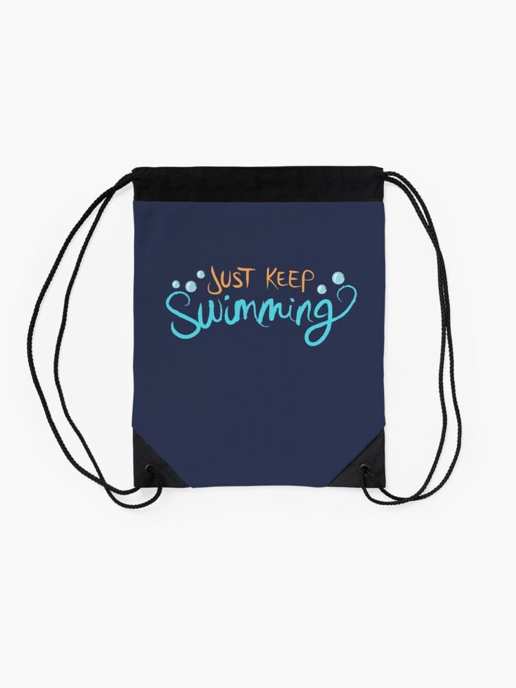 Alternate view of Just Keep Swimming Drawstring Bag