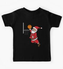 Santa Basketball Dunk Christmas Art | Winter Athlete Gift Kids Tee