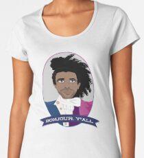 Camiseta premium de cuello ancho Bonjour, ¡todos!