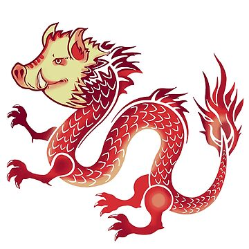 Fun Chinese Red Dragon & Pig Head Symbol of 2019 by CasualMood
