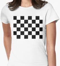 Checkered Flag, Chequered Flag, Motor Sport, Checkerboard, Pattern, WIN, WINNER,  Racing Cars, Race, Finish line, BLACK Women's Fitted T-Shirt