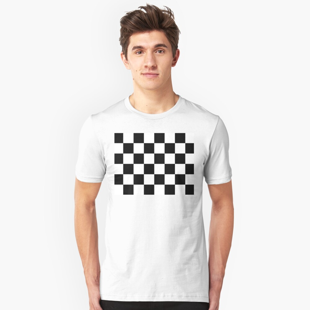 Checkered Flag, Chequered Flag, Motor Sport, Checkerboard, Pattern, WIN, WINNER,  Racing Cars, Race, Finish line, BLACK. Slim Fit T-Shirt