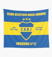 Club Atletico Boca Juniors 'Azul y Oro - La Mitad Mas Uno JUGADOR NO 12' - Wall Tapestry, Phone Case and Home Decor Wall Tapestry