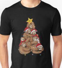 Sloths Tree Christmas Art | Yuletide Sleepy Lazy Head Gift Unisex T-Shirt