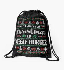 All I Want For Christmas Is Veggie Burger Ugly Christmas Sweater Drawstring Bag