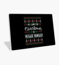 All I Want For Christmas Is Veggie Burger Ugly Christmas Sweater Laptop Skin