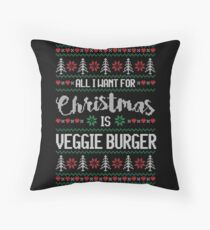 All I Want For Christmas Is Veggie Burger Ugly Christmas Sweater Throw Pillow