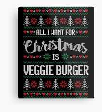 All I Want For Christmas Is Veggie Burger Ugly Christmas Sweater Metal Print