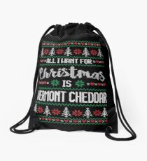 All I Want For Christmas Is Vermont Cheddar Ugly Christmas Sweater Drawstring Bag