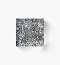 Mandala,black and grey,hand painted Acrylic Block