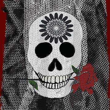 Veiled Memories Skull and Red Rose by MelissaB
