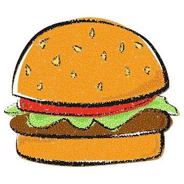 Hamburger Cheeseburger Cartoon Bubble Art Design by oggi0
