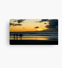 Surfing at Sunset, Croyde Bay Canvas Print