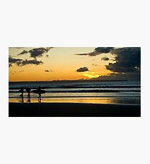 Surfing at Sunset, Croyde Bay Photographic Print