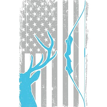 Recurve Bow Hunting Whitetail Deer - US American Flag - Big Buck - Archer Bow and Arrow Gift for Bowhunters by SuckerHug
