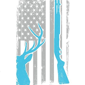 Shotgun Hunting Whitetail Deer - US American Flag - Big Buck Showgunning - Buckshot Hunter Gift by SuckerHug