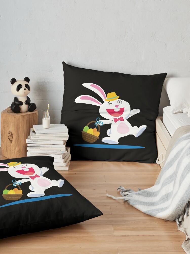 Vista alternativa de Cojines de suelo Rabbit From A Tale Walking With A Basket Cartoon