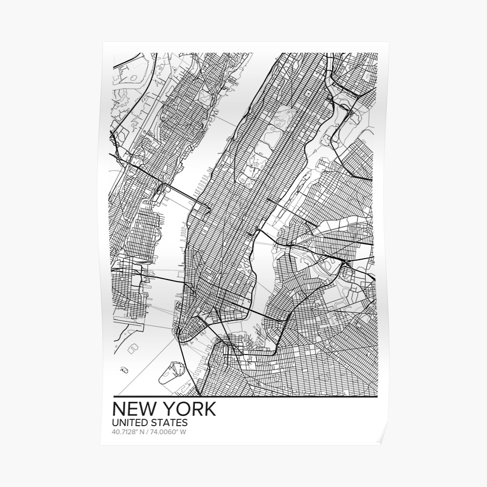 photo about New York Map Printable called Fresh new York map poster print wall artwork, United Says reward printable, Property and Nursery, Innovative map decor for office environment, Map Artwork, Map Presents Poster