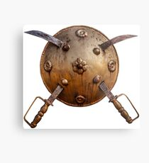 Shield with swords of gold Metal Print