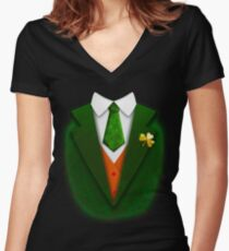 St. Patrick's Day Funny Suit and Tie Tuxedo Gift Women's Fitted V-Neck T-Shirt