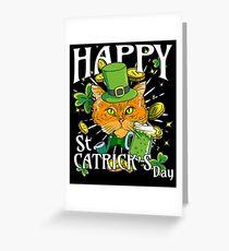 Happy St. Catricks Day Funny St. Patricks Cat Lover Greeting Card