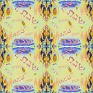 Shabbat pattern in blue, gold and tan by hdettman