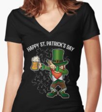 St. Patrick's Day Dabbing Lepricorn Dab Funny Gift Women's Fitted V-Neck T-Shirt